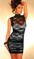 Black Floral Mesh Lace cheongsam Designed Sheath One Piece Dress Cheap price Free Shipping Fast Delivery