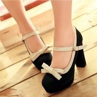 2013 spring single shoes customize plus size women's shoes 41 42 43 vintage platform thick heel bow women's shoes