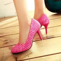 2013 spring candy color thin heels pointed toe wedding shoes high-heeled shoes rose single shoes