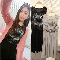 Double 2014 small fashion slim waist brief cat vest one-piece dress q615