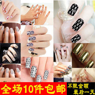 Fashion star 9101 angelababy metal nail art false nail patch membrane paper finger sticker