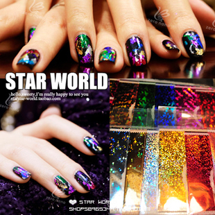 Colorful 9130 HARAJUKU magicaf laser metal quality nail art finger stickers