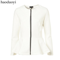 Ruffle sweep fish tail sweep long-sleeve white zipper outerwear victoria slim 6 full