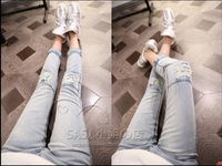 2013 female pencil pants hole skinny pants ultra elastic denim trouser spencil pants skinny low jeans