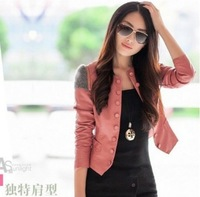 Free shipping 2012 New Fashion Womens Korea Slim PU Jacket Ladies leather Jacket Coat Fur Clothing  1172