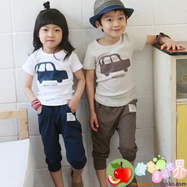 2013 male girls clothing cartoon car short-sleeve T-shirt pp pants capris harem pants twinset(China (Mainland))