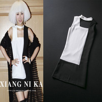 Fashion  new 2013 women's  dress fashion brief black and white color block decoration sleeveless  dress