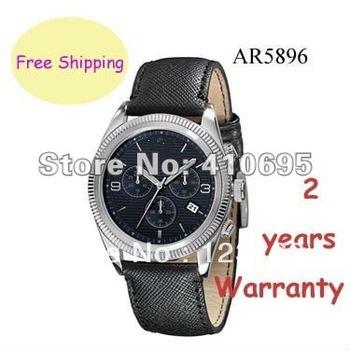 New Black Leather Chronograph Date Men Watch 42mm AR5896+ Original box