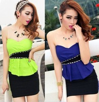 Summer women's 2013 sexy beading ruffle color block decoration tube top one-piece dress