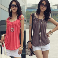 Free Shipping Promotions 2013 Hot New  Women fashion casual cool fold flounced sleeveless T-shirt specialSleeveless Short Hollow