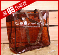 Free shipping Fashion transparent bag jelly women's handbag beach crystal bag female shoulder bag big bag