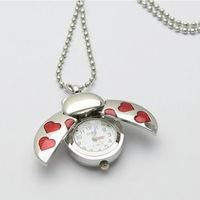 1pcs Free shipping New  Beetle Heart Quartz Ladies Girls Pocket Necklace Watch A021