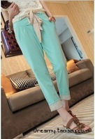 Ol white collar all-match polka dot candy color ankle length trousers casual pants female