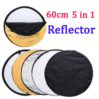 "24"" inch 60cm 5 in 1 Portable Collapsible Light Round Photography Reflector for Studio or outdoor Free Shipping"