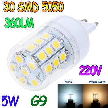 G9 5W 30 SMD5050 SMD 5050 LED Corn Light Bulb Warm White Or White lighting 220V 360 degree corn bulbs LED Lamp Free Shipping