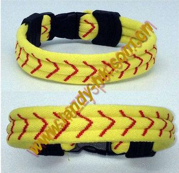 New Arrival Titanium Germanium Softball Stitch Sport Bracelet, Flat Rubber End Pieces, 50pcs/lot, Free Shipping