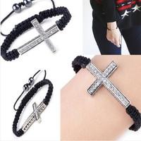 Браслет New Design Rhinestones Honesty Crystal Beads Sideways Cross Bracelets Jewelry