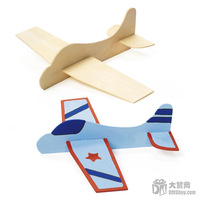 Free Shipping 12pcs/lot DIY Wood Airplane Toys For Kids,Funny Drawing Toys For Birthday Gift
