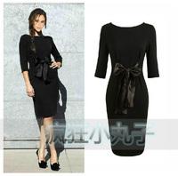 Free shipping- Fashion women's 2012 bow belt slim one-piece dress