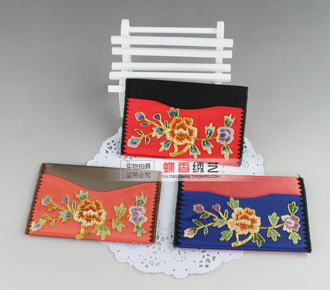 Quality silk embroidered card case classical flower embroidery finished product embroidery unique gift(China (Mainland))