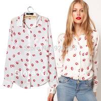 drop shipping Women Button Down OL Shirt New Collared Chiffon Long Sleeve Kiss Printed CY0397 Free Shipping
