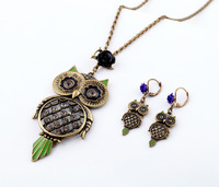 Fashion accessories vintage owl necklace, earring ,sets fo for women TN-K