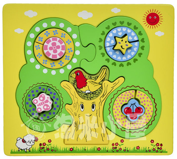 Child puzzle three-dimensional jigsaw puzzle color shape wooden toys