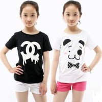 Free Shipping 1 Piece Kids Children's child T-shirt t-shirt Girls Short Sleeve  Cotton t shirt 6 design to choose