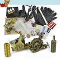 Complete Tattoo Kit 2 Machines Gun 3Color Ink LCD Power Supply SM-B4011 Free Shipping 10411(China (Mainland))