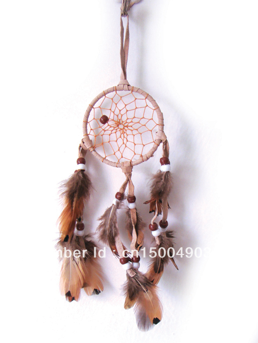 Free Shipping 3 inch Indian feather beige dream catcher(China (Mainland))