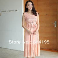 Free Shipping 2013New arrive Summer Pink O-ncek Sleeveless Hollow Out Chiffion  Lady Dress Silm Waist Fashion Dress dws8475