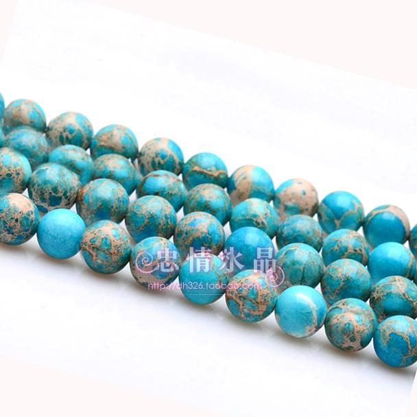 Fashion sea blue ecclesiarchy stone beads male Women semi finished 6-12mmdiy accessories(China (Mainland))