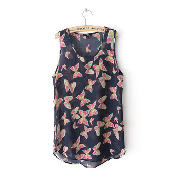 2013 fashion aesthetic butterfly print spaghetti strap top vest chiffon shirt female  Free Shipping