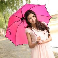 Free shipping!Princess flounced three folding umbrellas Korean creative water open umbrella color magic umbrella