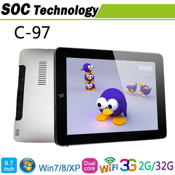 Free shipping 9.7 inch C-97 Windows 7 Intel Atom N2600 Dual Core Built in 3G 2GB/32GB IPS Screen Phone Call Tablet pc(China (Mainland))