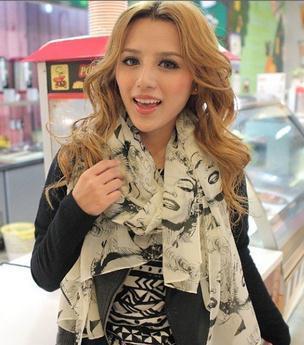 Graffiti shawls,Silk chiffon, Sexy women Marilyn Monroe picture scarf SA003 Free shipping Valentine's gift