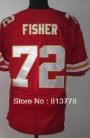 hot !!! 2013 new Style  American Men&#39;s Football Jerseys Kansas City  #72 FISHER  red  elite Sewing logos Jersey free shipping