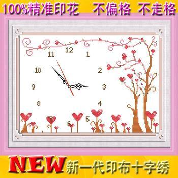 Free shipping 2013 In 100% print cross stitch cloth clock simple clock wishing tree