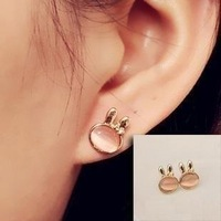 0581 moonstone rabbit stud earring fashion vintage - eye earrings earring female