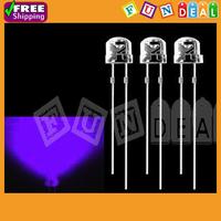 Free Shipping! 100pcs 5mm 2000mcd Super Bright Round Light Bulb UV/ Purple Color LED Lamp LED Light emitting Diodes Wholesale