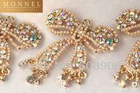 H416a Cute Latest Design Crystal Big Gold Bow Charm Pendant Wholesale (3pcs)
