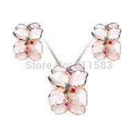 18K Rose Gold Finish White Enamel Flower Shaped Necklace Earring Wedding Sets Nickel Golden Austrian Crystal SWA Element S59
