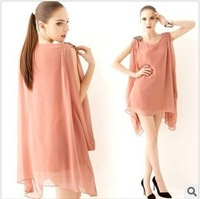 2012 New Korea Women's Sleeveless Bead Chiffon Casual Mini Dress Summer Sundress free shipping
