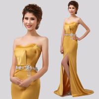 2013 fish tail gold placketing formal dress slim design long train evening dress