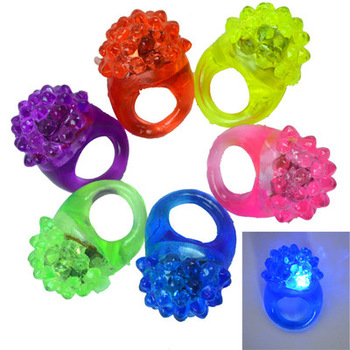 New 6PCS/lot Strawberry Finger Beams LED Party Glow Light Ring Torch Party Wedding