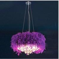 Rustic simple european bedroom romantic round ball crystal feather pendant light lamp