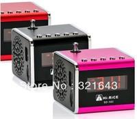 30pcs/lot   free DHL SHIPPING  Hi-Rice SD-502 LCD Digital Media USB TF card Mini Speaker with FM  Alarm clock function