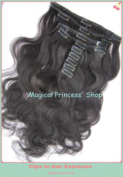 Hot Sale Grade AAAA Virgin Indian Human Hair Clips On Hair Extension Body Wave