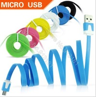 hot sale 500pcs Noodle Flat Micro USB Cable Data Sync Charging Cable colorful USB Cord for samsung/htc/blackberry free DHL