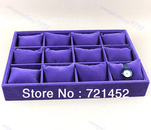Free Shipping Purple 12 Grid Velvet Pillow Watch Bracelet Jewelry Wrist Display Stand Showcase(China (Mainland))